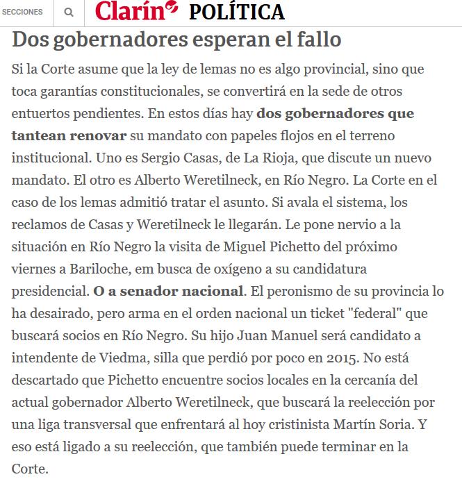 La Corte falla por Santa Cruz y las esquirlas llegan a otras provincias 09 12 2018 Clarín.com(1)