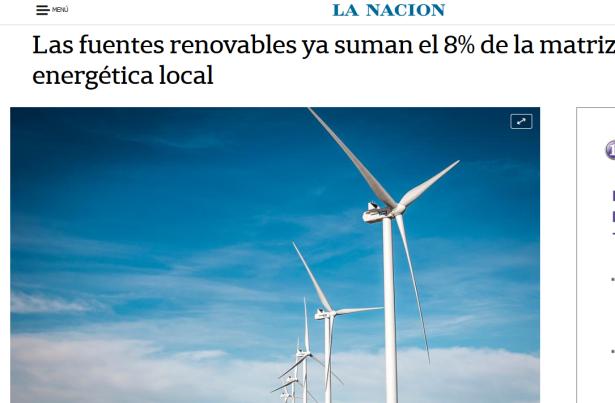 Las fuentes renovables ya suman el 8 de la matriz energética local LA NACION