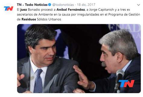 residuos juez anibal fernandez Búsqueda de Twitter