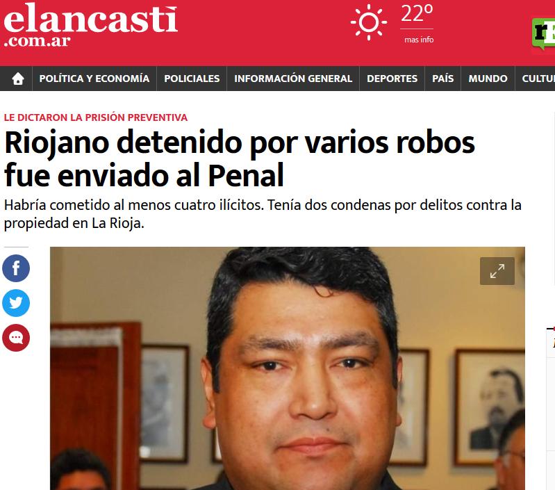 Riojano detenido por varios robos fue enviado al Penal El Ancasti Diario de Catamarca