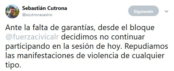 Sebastián Cutrona en Twitter Ante la falta de garantías desde el bloque fuerzacivicalr decidimos no continuar participando en la sesión de hoy. Repudiamos las manifestaciones de v