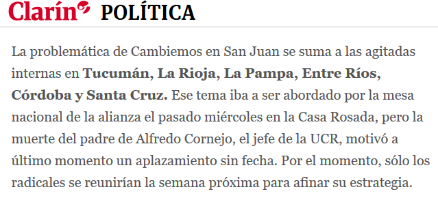 Señal de alarma en Cambiemos sus referentes en San Juan piensan ir con otro nombre 30 11 2018 Clarín.com(1)